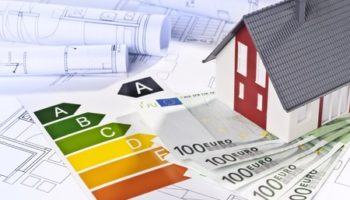 28013124 - architectural model, architectural plans, energy efficiency labels and money